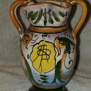 2 Handled Vase Made in Italy hand painted